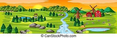 coucher soleil, paysage nature, scène, ferme, granges