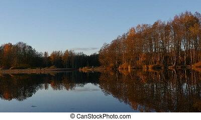 coucher soleil, paysage, rivière, beau