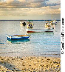 coucher soleil, peche, time., bateaux