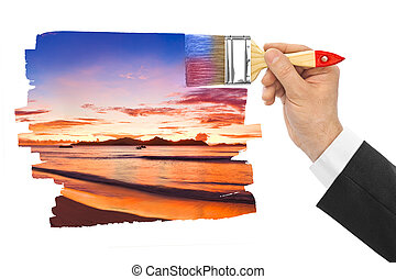 coucher soleil, peinture, pinceau, main