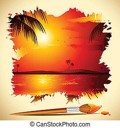 coucher soleil, peinture, vue