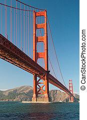 coucher soleil, pendant, san, portail, doré, pont, francisco