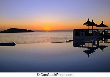 coucher soleil, piscine, mer
