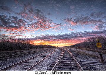 coucher soleil, pistes, chemin fer