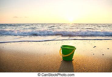 coucher soleil, plage., été