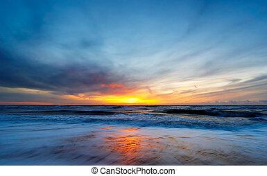 coucher soleil, plage