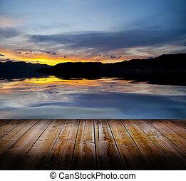 coucher soleil, plancher