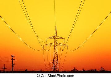 coucher soleil, pylônes, électricité