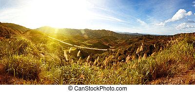 coucher soleil, quand, montagnes