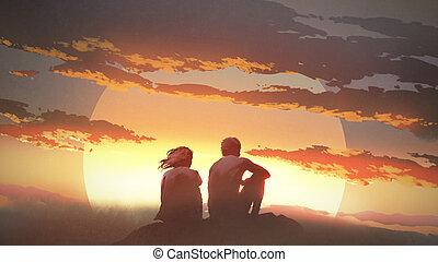 coucher soleil, regarder, jeune couple
