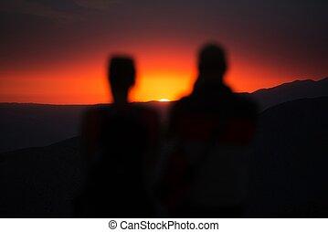 coucher soleil, regarder