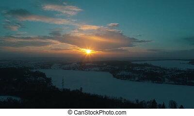 coucher soleil, rivière, aérien, hiver, vue