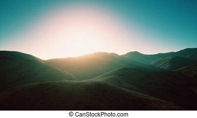 coucher soleil, rochers, collines