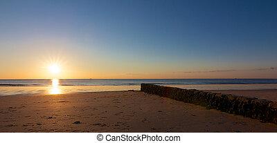 coucher soleil, rocheux, aine