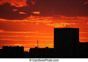 coucher soleil rouge