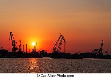 coucher soleil, rouges, port maritime