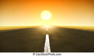 coucher soleil, route, boucle, hd.