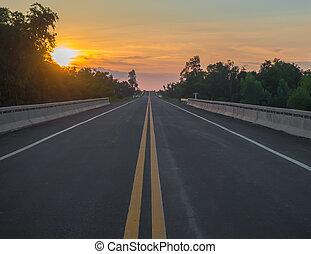 coucher soleil, route, conduite