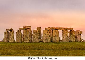 coucher soleil, royaume-uni, stonehenge