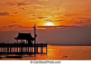 coucher soleil, sanctuaire, silhouette, beau