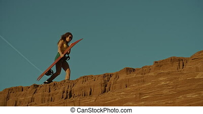 coucher soleil, sandboarder, colline, lumière, femme