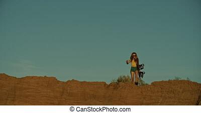 coucher soleil, sandboarder, femme, lumière, falaise