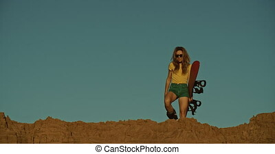 coucher soleil, sandboarder, girl, lumière, falaise