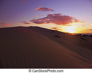 coucher soleil, sanddunes
