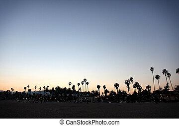 coucher soleil, santa barbara, plage
