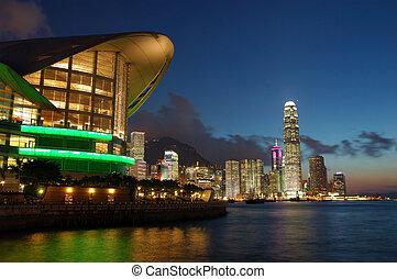 coucher soleil, scène, de, hong kong, cityscape