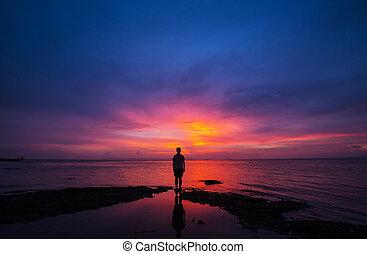 coucher soleil, scène