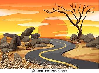coucher soleil, scène, route