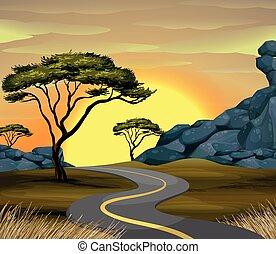 coucher soleil, scène, route, temps