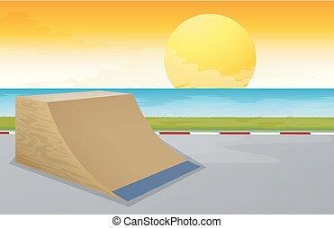 coucher soleil, scène, skatepark