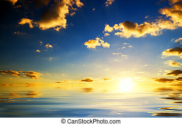 coucher soleil, sea., au-dessus