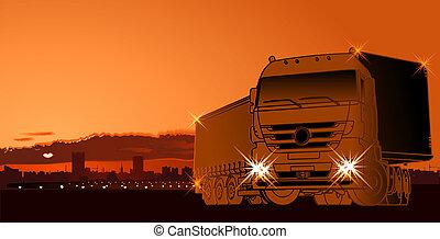 coucher soleil, semi-camion