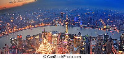 coucher soleil, shanghai, vue aérienne
