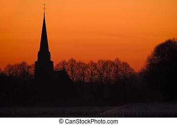 coucher soleil, silhouette, contre, église