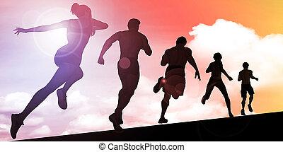 coucher soleil, silhouette, de, équipez course, montant
