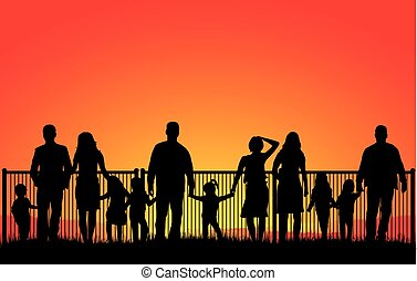 coucher soleil, silhouette, famille