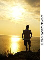 coucher soleil, silhouette, homme