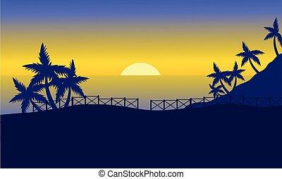 coucher soleil, silhouette, mer