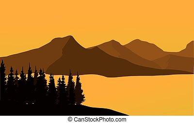 coucher soleil, silhouette, montagne