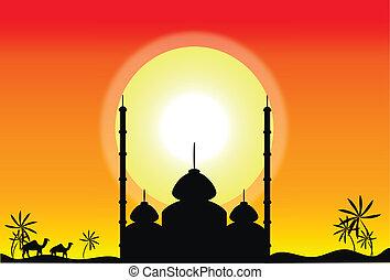 coucher soleil, silhouette, mosquée