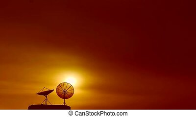 coucher soleil, silhouette, plat, barbouillage, dos, temps, satellite, défaillance, deux