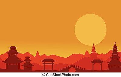coucher soleil, silhouettes, pavillon, paysage