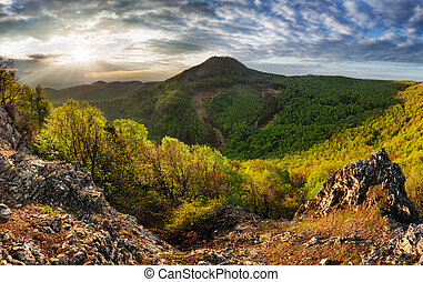 coucher soleil, slovaquie, -, soleil, forêt, pic, dramatique...