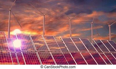 coucher soleil, solaire, turbines, ciel, 3d, -, vent, animation, panneaux, 4k