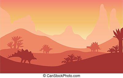 coucher soleil, stegosaurus, silhouette