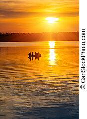 coucher soleil, sur, a, lac